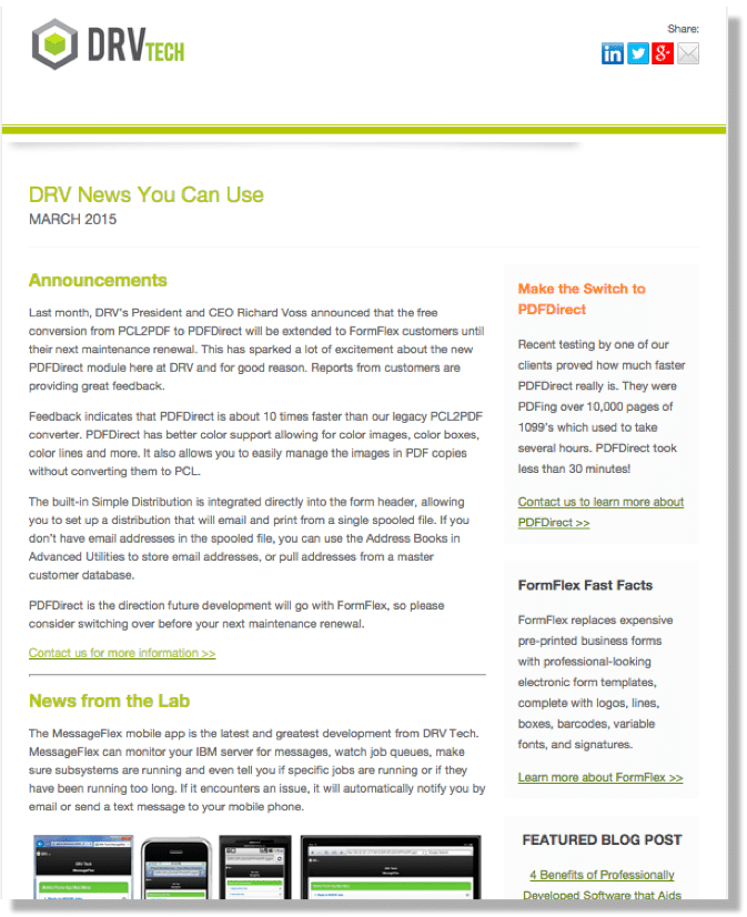 DRV Tech company newsletter